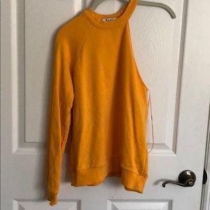 One shoulder neon orange/yellow sweatshirt